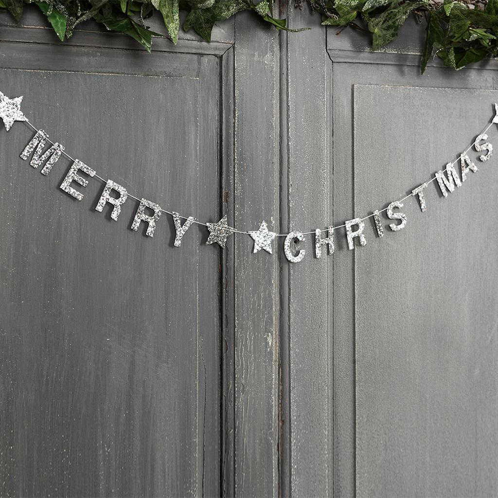 silver merry christmas garland