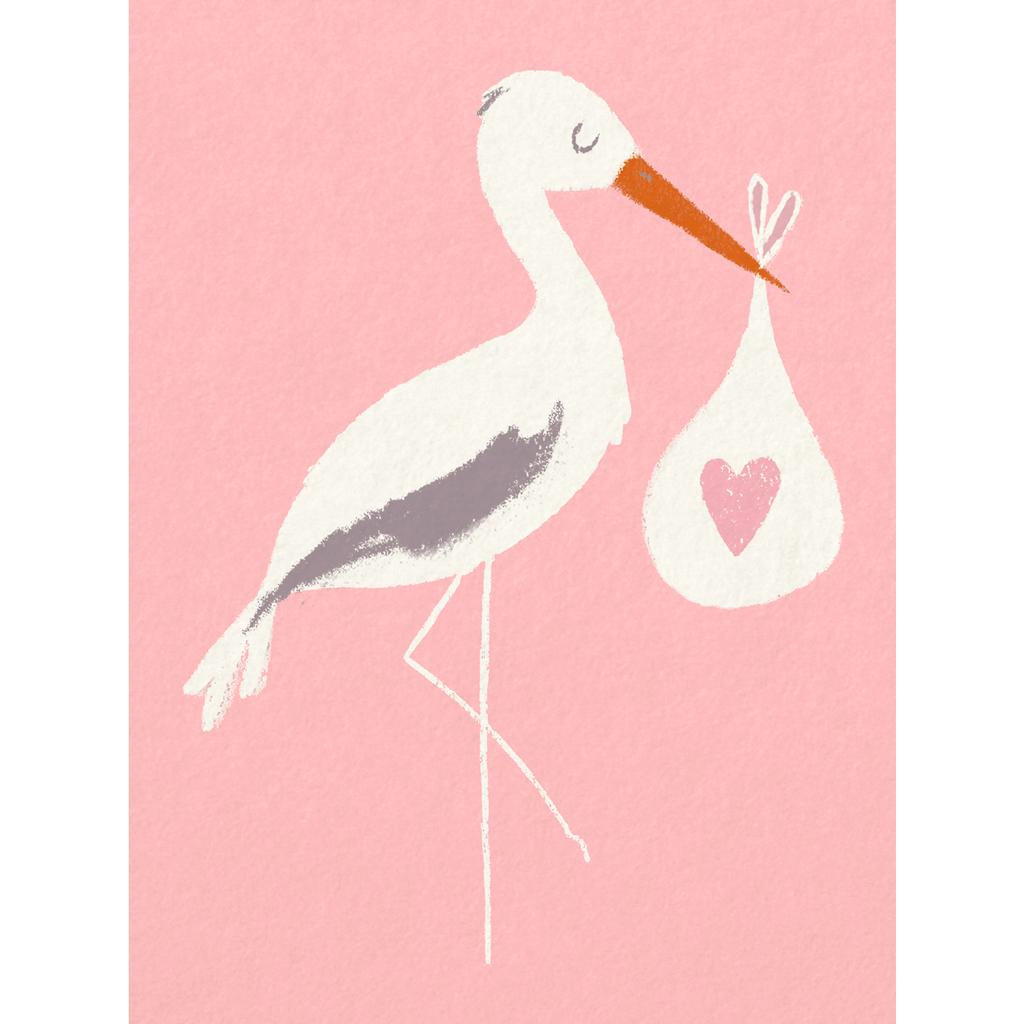 stork newborn baby girl bundle pink greetings card