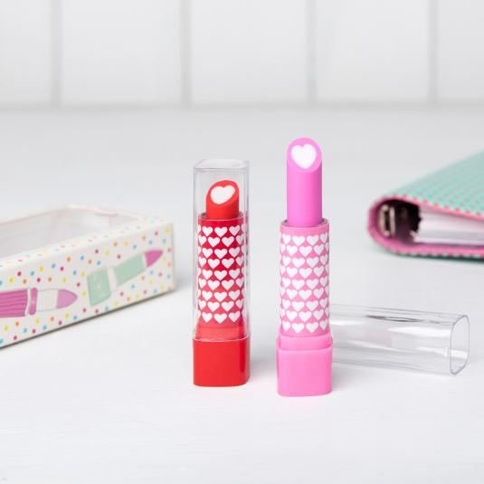 2 Lipstick Shape Erasers