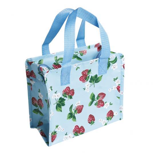 Summer Strawberry Design Blue Plastic Charlotte Bag
