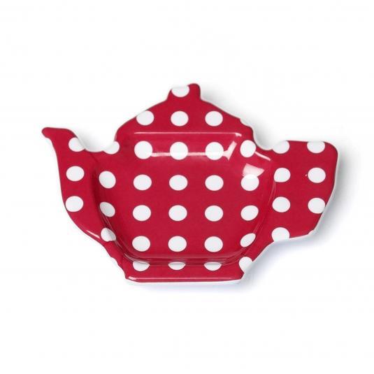 Tea Bag Plate Red Retro spot