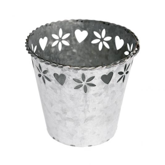 Zinc Heart Flower Tealight Holder