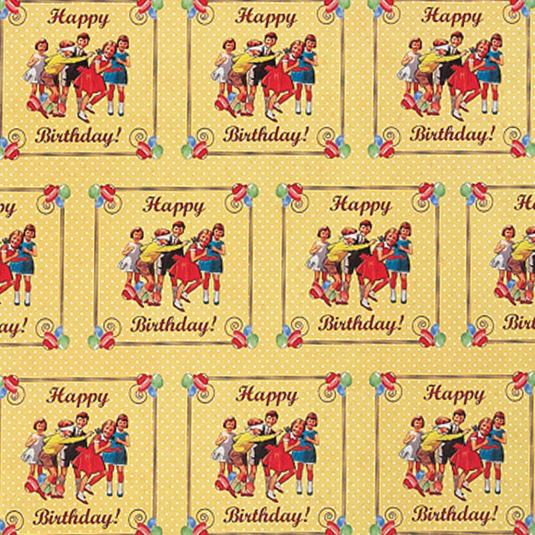 5 Sheets Of Vintage Party Wrapping Paper