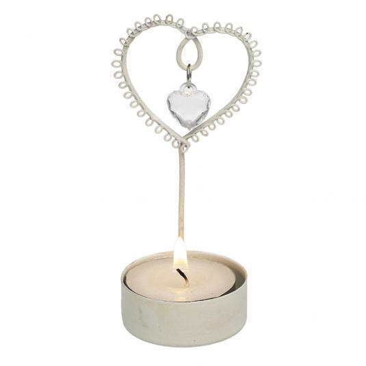 Cream Jewelled Heart T-ight Holder