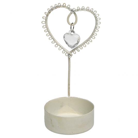Cream Jewelled Heart Tealight Holder
