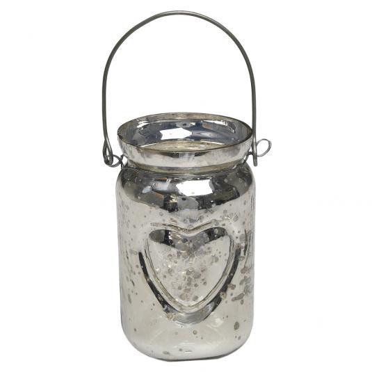 Silver Jam Jar Tealight Holder