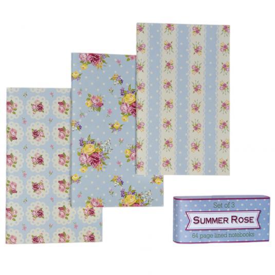 Set Of 3 Rose Notebooks