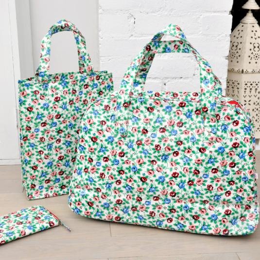 Rambling Rose Oilcloth Weekend Bag