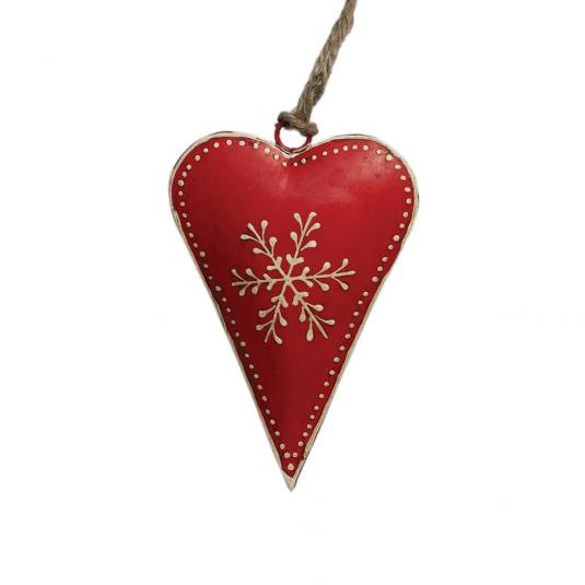 Small Red Rustic Snowflake Heart