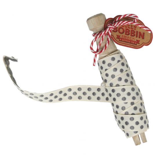 Dolly Bobbin Ribbon Grey Spots