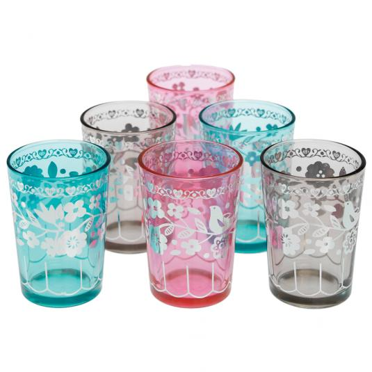 Set Of 6 Coloured Souk Tea Light Holders