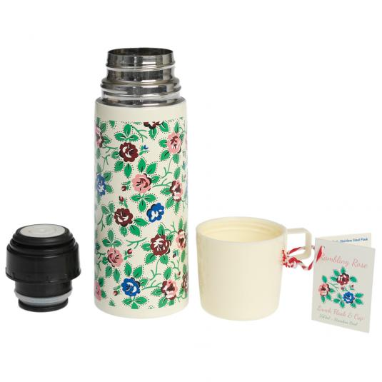 Rambling Rose Design Flask And Cup