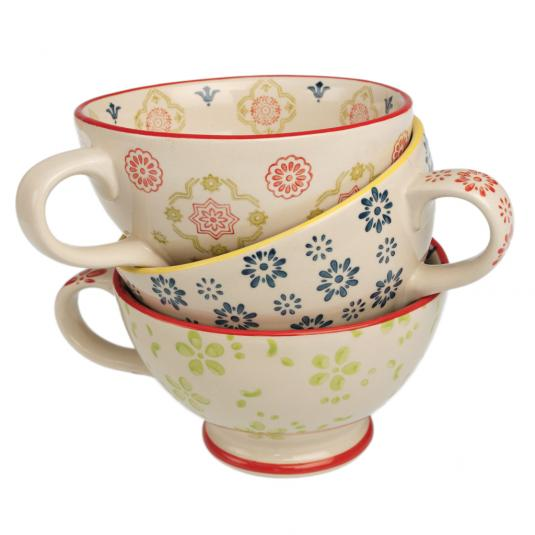 Floral Stoneware Coffee Cups