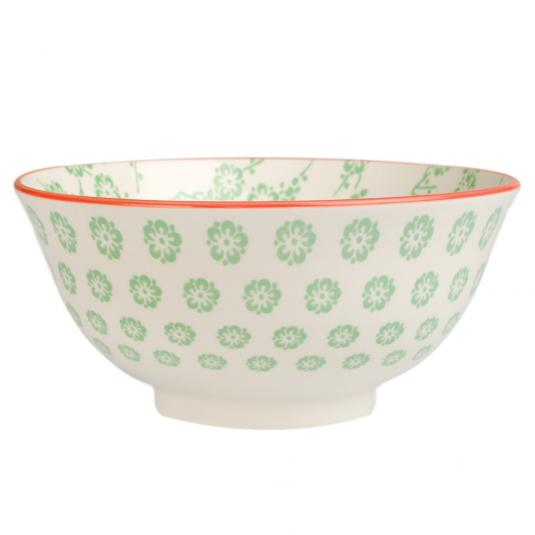 Large Japanese Bowl Green Blossom