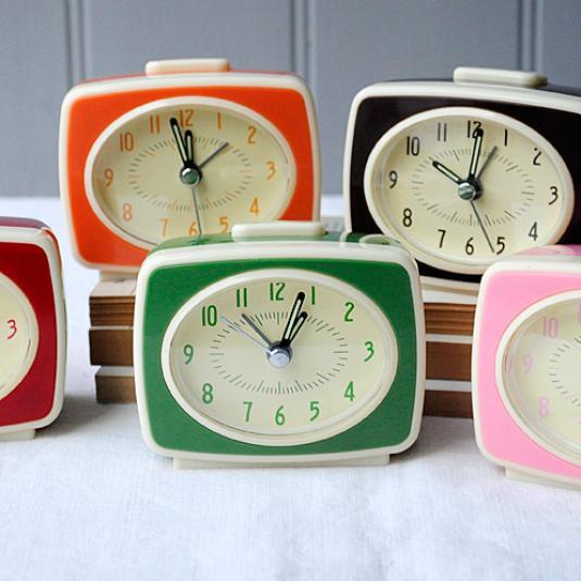 Retro Tv Style Brown Alarm Clock