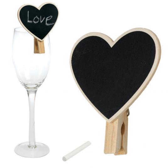 Mini Blackboard Heart Peg Place Setting