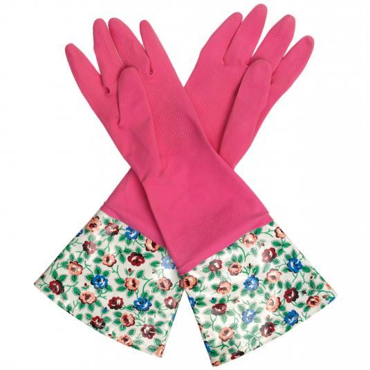 Pink Rambling Rose Washing Up Gloves