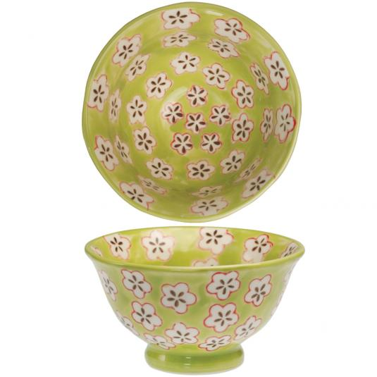 Green Hand Painted Daisy Bowl