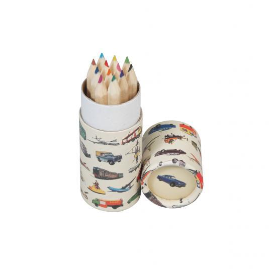 Set Of 12 Vintage Transport Colouring Pencils