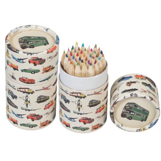Set Of 36 Vintage Transport Colouring Pencils