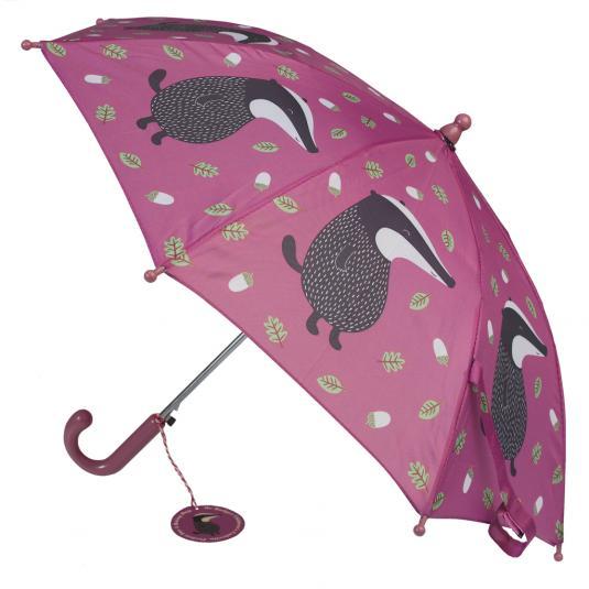 Boys Purple Umbrella Mr Badger