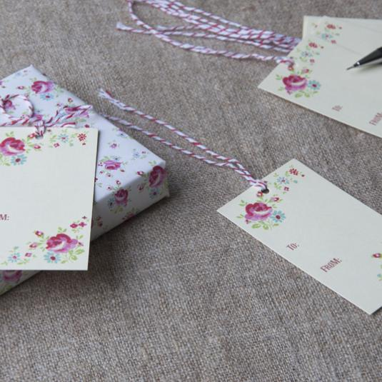 Set Of 6 La Petite Rose Gift Tags