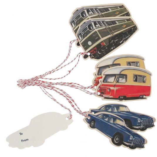 Set Of 6 Vintage Transport Gift Tags