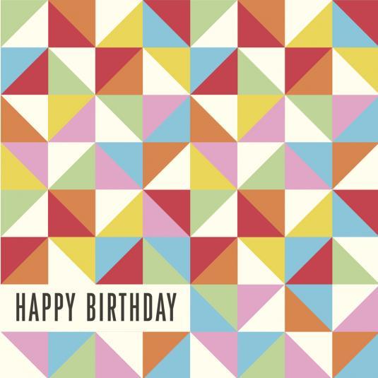 Multicolour Geometric Birthday Card