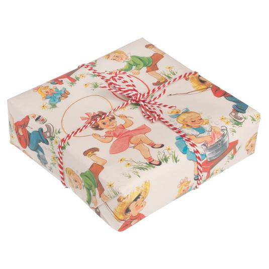 5 Sheets Of Vintage Kids Wrapping Paper