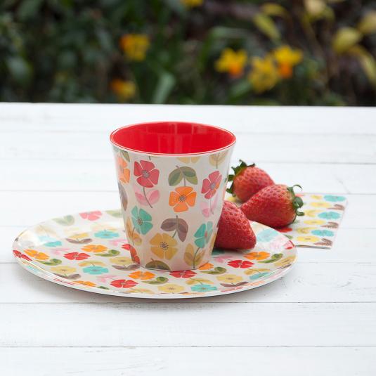 Melamine Tableware Mid Century Poppy Design
