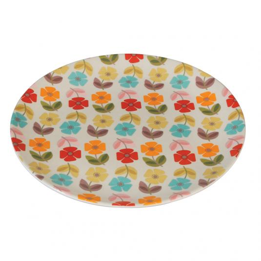 Melamine Plate Mid Century Poppy