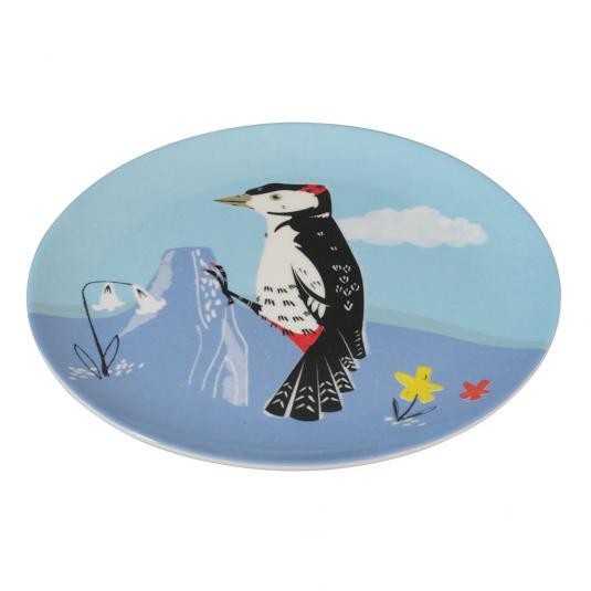 Blue Melamine Plate Woodpecker