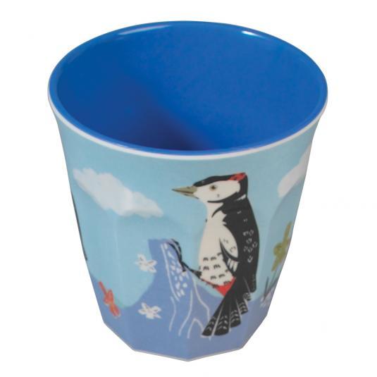 Blue Melamine Cup Woodpecker