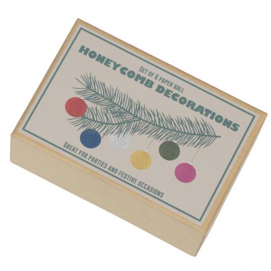 Set Of 6 Paper Ball Honeycomb Mini Decorations