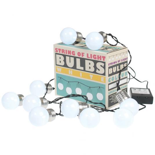 String Of 10 White Led Battery Bulb Lights