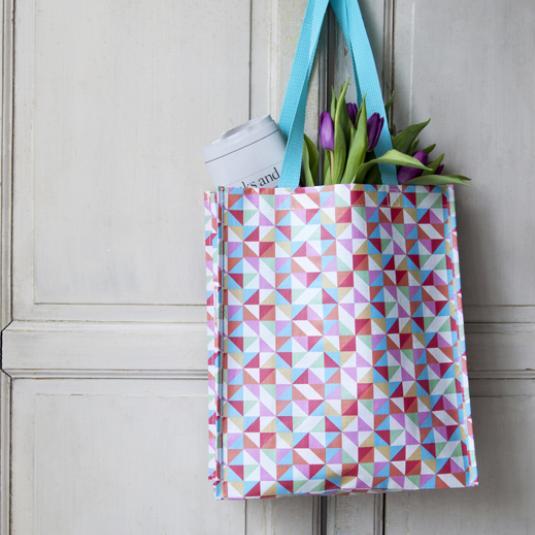 Multicolour Geometric Design Shopper Bag