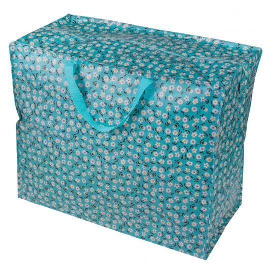 Blue Floral Laundry Storage Bag
