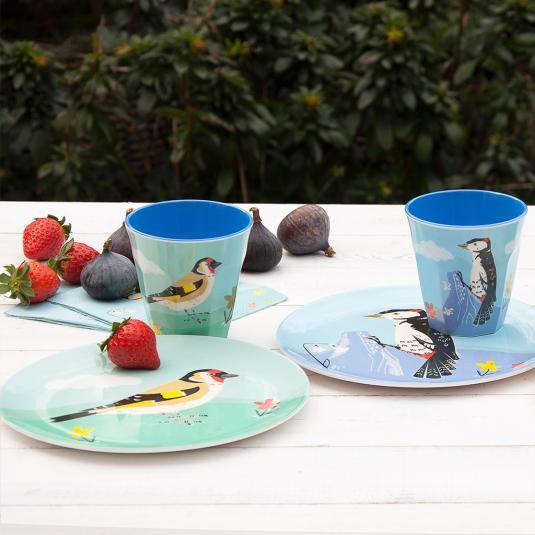 Garden Birds Print Melamine Tableware
