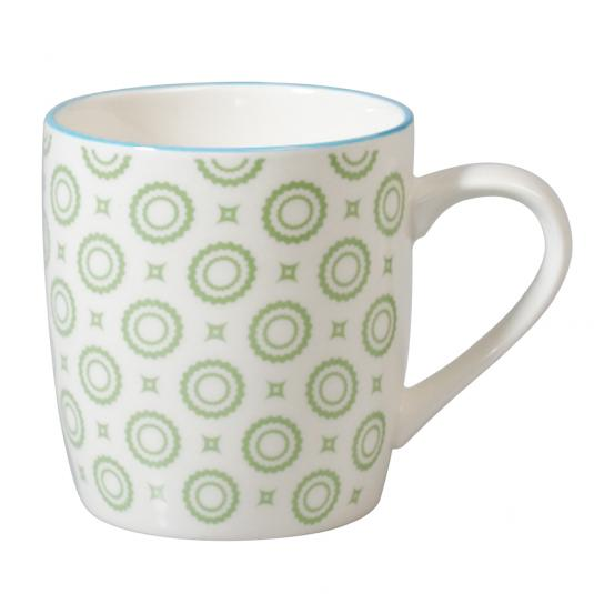 Japanese Porcelain Mug Green Circles
