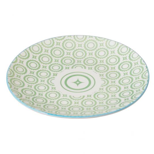Japanese Dinner Plate Green Circles