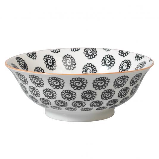 Japanese Salad Bowl Black Flowers