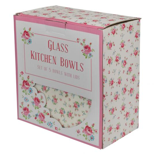 5 La Petite Rose Glass Bowls in a Gift Box