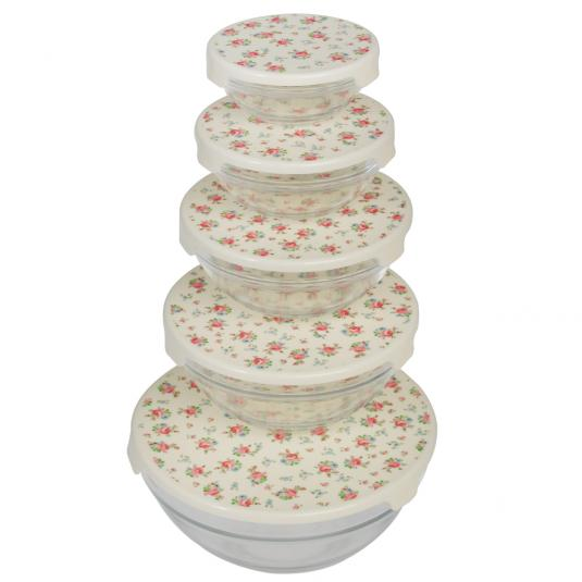 Storage Glass Bowls with Floral Print Lids