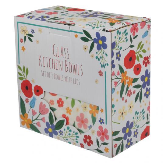 Set Of 5 Summer Meadow Glass Bowls Rex London