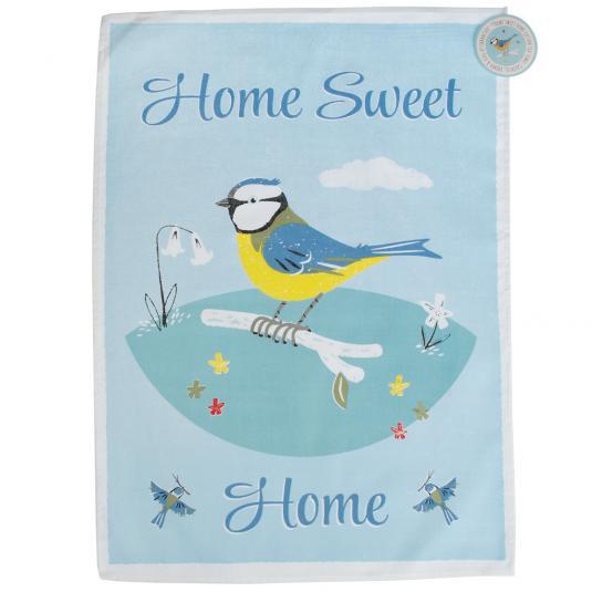 Blue Tit Home Sweet Home Tea Towel