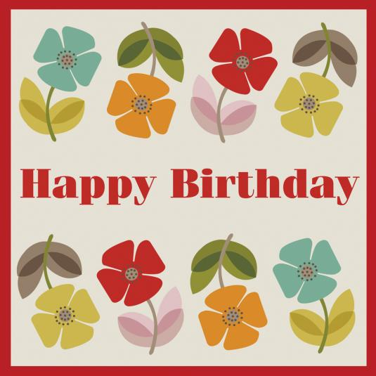 Mid Century Poppy Birthday Card