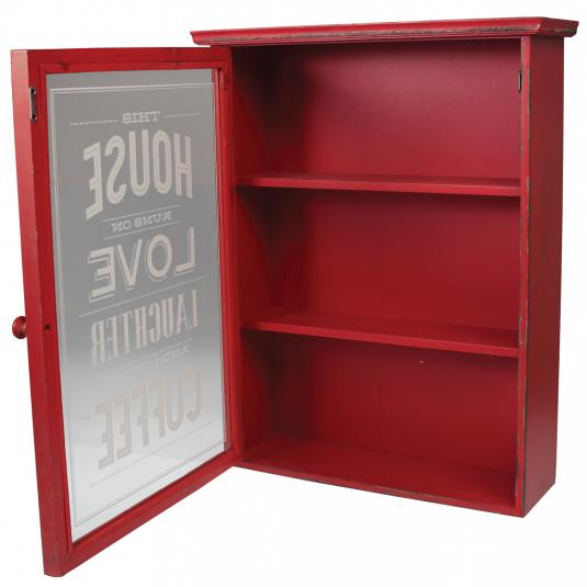 Red Distressed Kitchen Cabinet