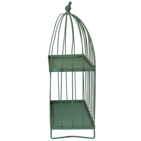 Green Distressed Birdcage Gazebo Shelf