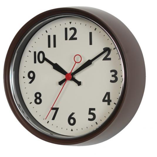 1950s Brown Metal Wall Clock