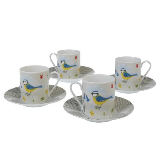 Set Of 4 Blue Tit Design Espresso Cups And Saucers